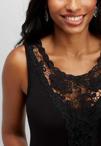 solid lace tank
