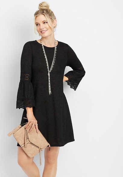 crocheted sleeve dress