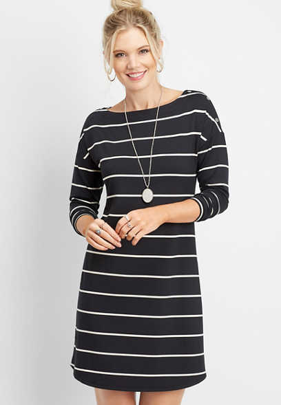 24/7 stripe snap shoulder dress