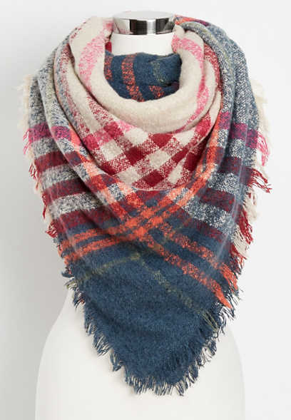 woven textured plaid scarf