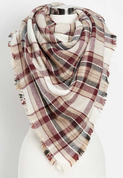 neutral plaid combo blanket scarf