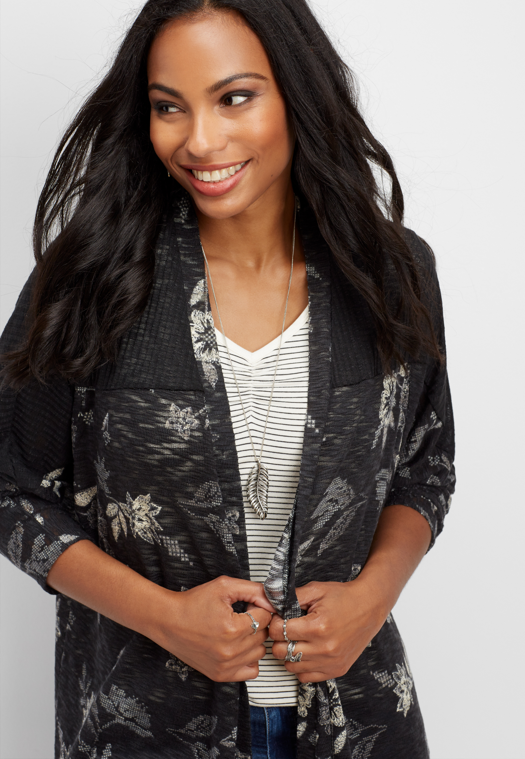 Open Front Floral Cardigan...
