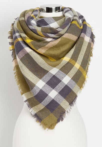 plaid yellow highlight blanket scarf