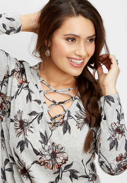 lace up neck floral tunic tee
