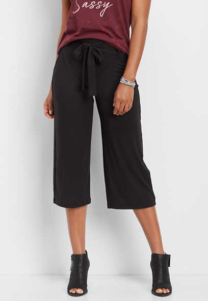 black ultra soft wide leg capri pant