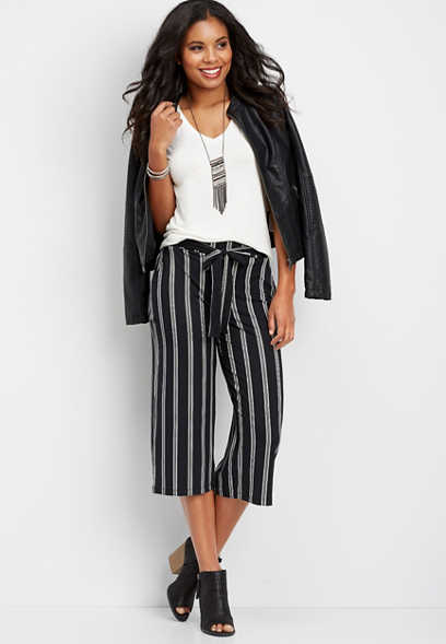 striped ultra soft wide leg capri pant