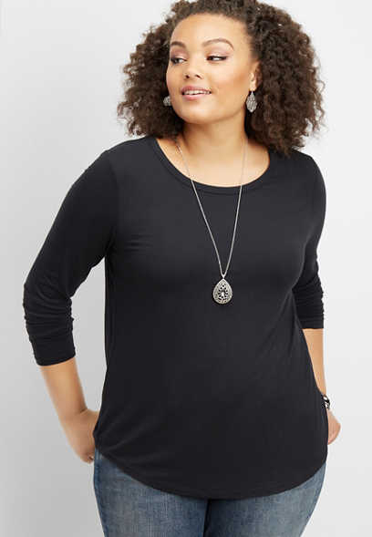 plus size 24/7 long sleeve basic tee