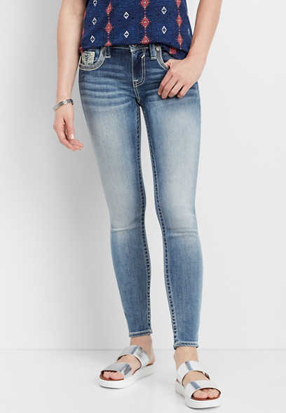 Vigoss ® low rise embellished flap skinny jean