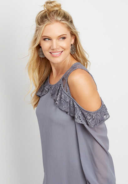 lace cold shoulder shift dress