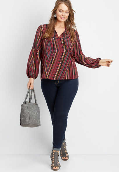 plus size multi stripe peasant top
