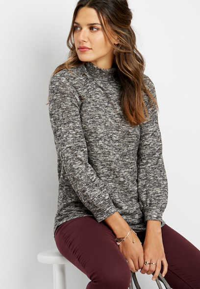 high neck grommet tunic pullover
