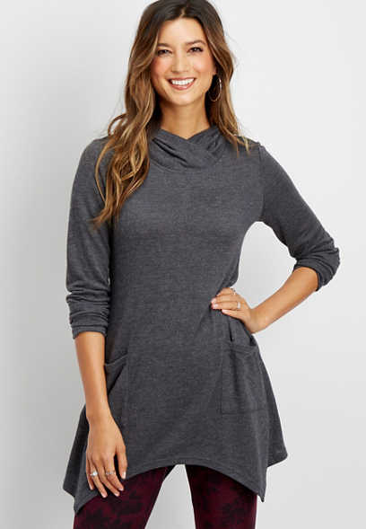 high neck pocket tunic top