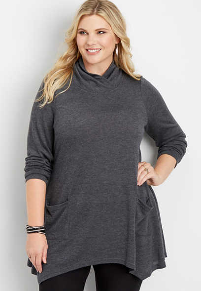 plus size high neck pocket tunic top