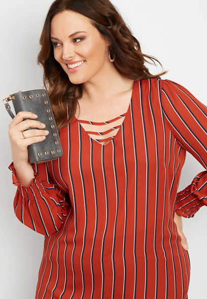 plus size stripe lattice neck blouse