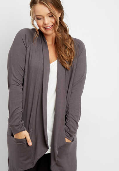 plus size athleisure pocket cardigan
