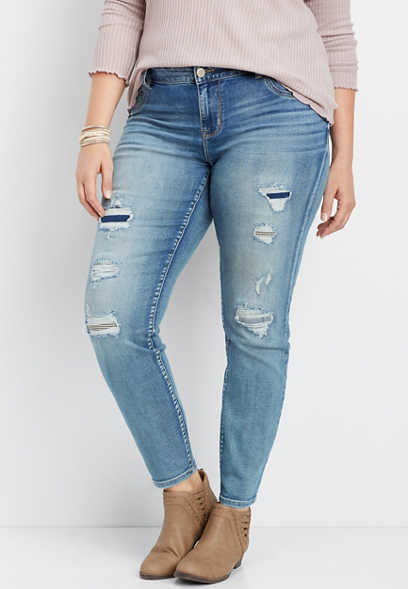 plus size DenimFlex™ destructed medium wash jegging