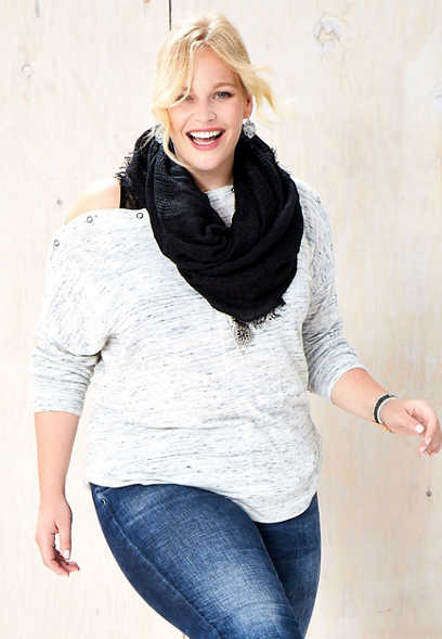 plus size snap shoulder dolman top
