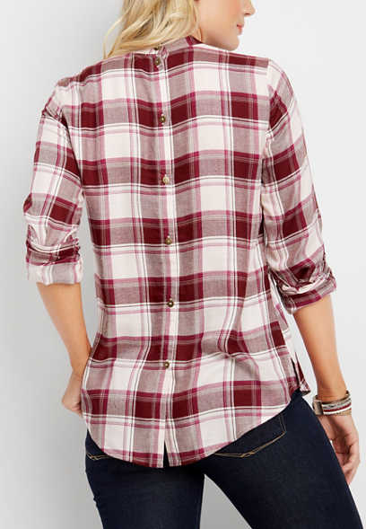 plaid button down back pullover