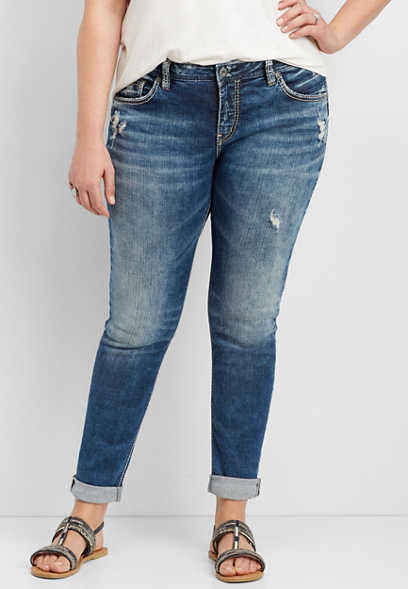 plus size Silver Jeans Co.® medium wash girlfriend jean