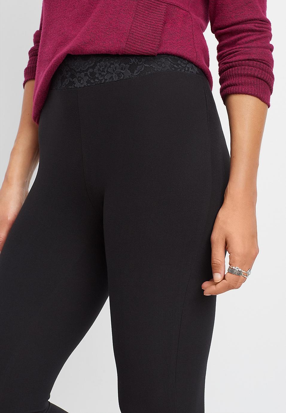 63a3ae5d45f15f black lace waist ultra soft legging | maurices