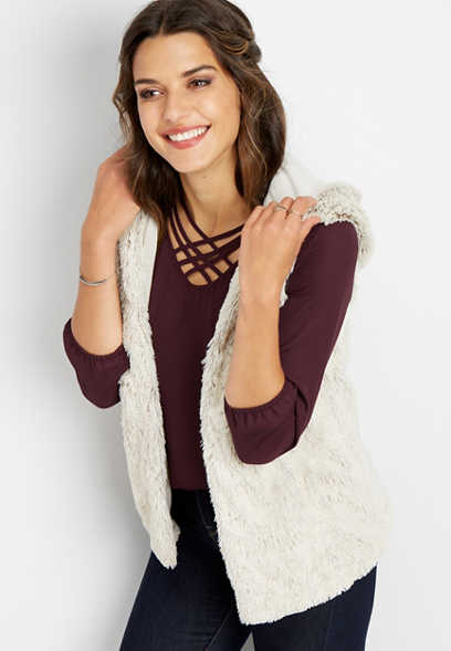 hooded fur vest