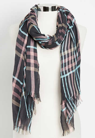 plaid chenille detail oblong scarf