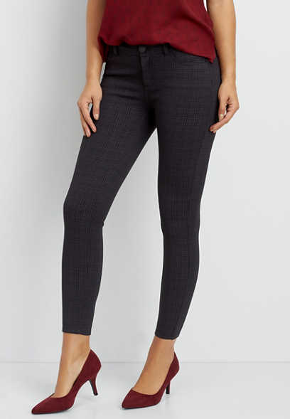 plaid ponte five pocket skinny pant