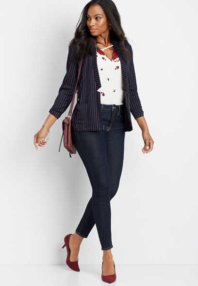 knit stripe blazer
