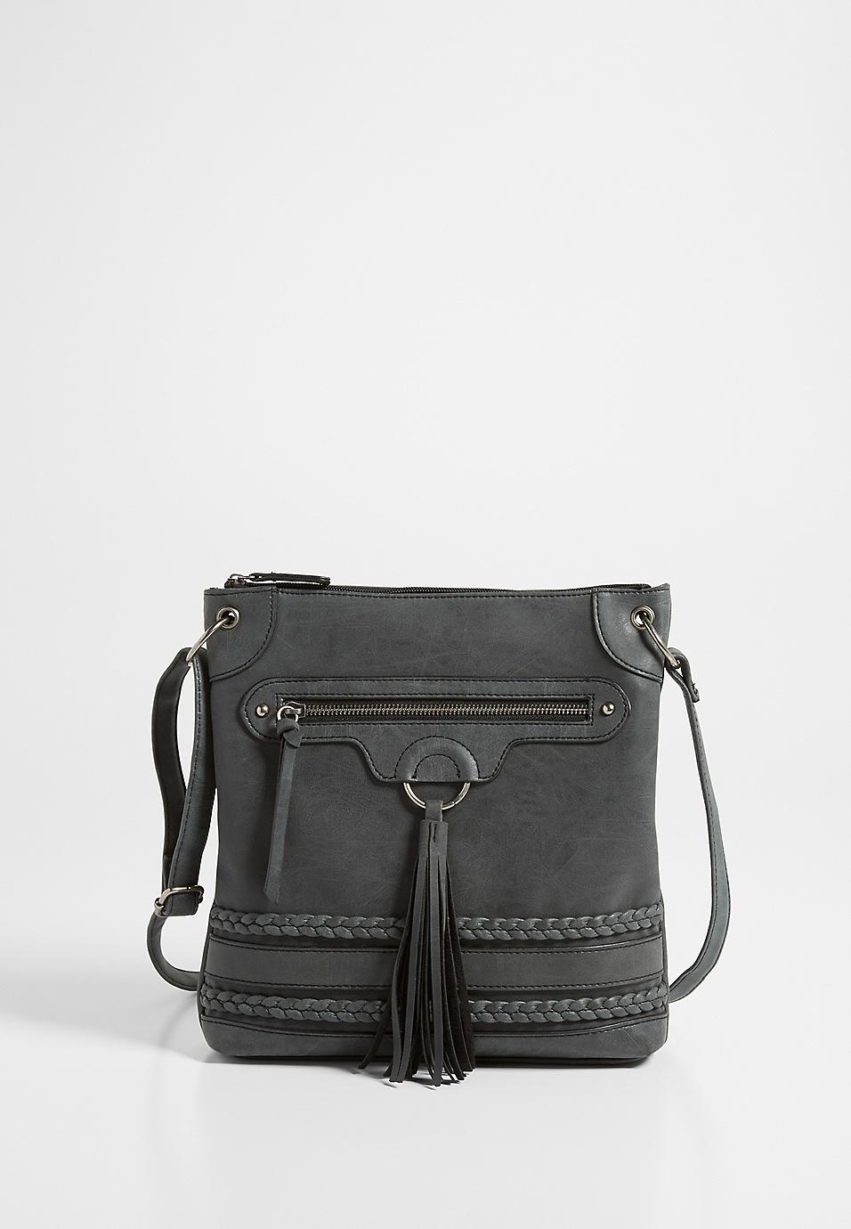 b1d75a4350 tassel braid crossbody bag