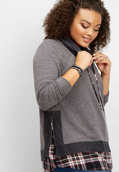 plus size plaid cowl neck sweatshirt