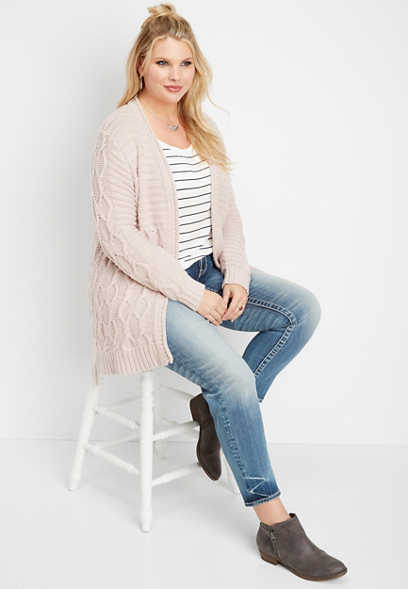 plus size chunky braided cardigan