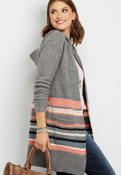 hooded stripe pocket cardigan