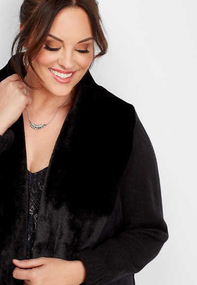 plus size faux fur collar knitted jacket