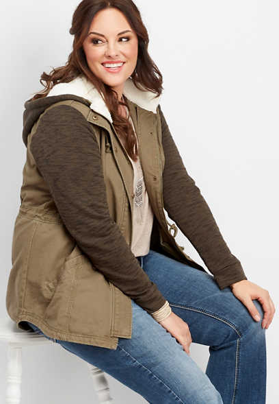 plus size sherpa hood sweater sleeve jacket