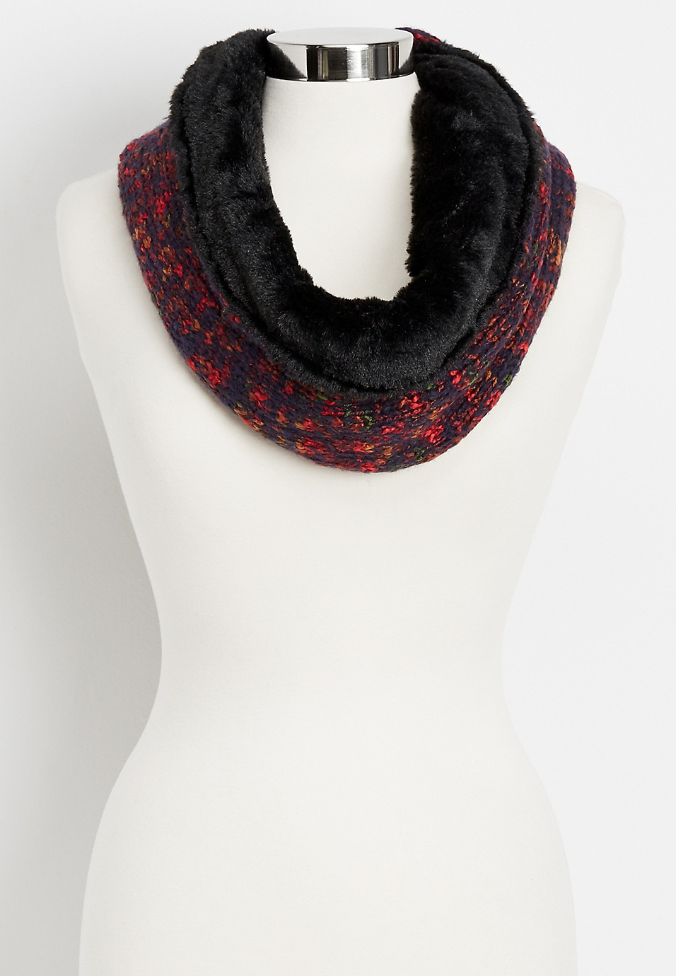 speckled knit and faux fur infinity scarf | maurices