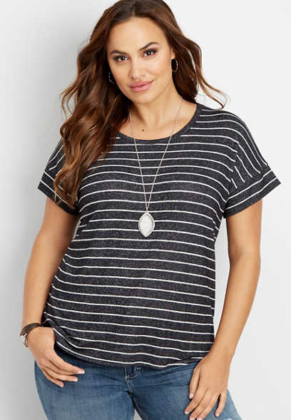 plus size 24/7 scoop neck stripe tee