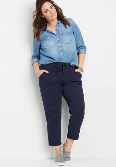 plus size navy pocket weekender pant