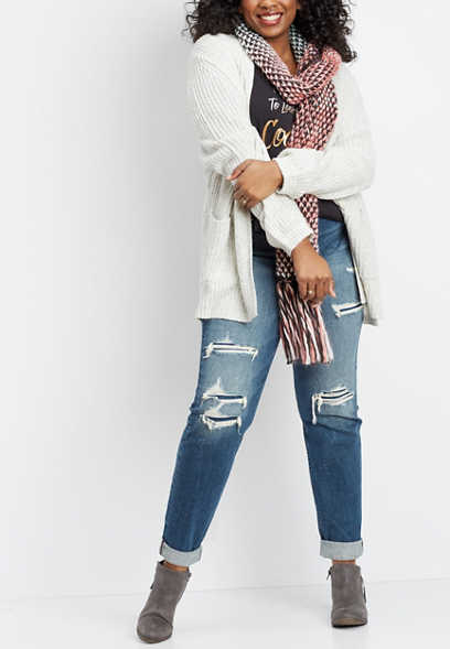 plus size Silver Jeans Co.® Sam destructed boyfriend jeans