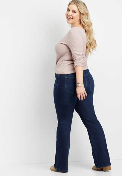 plus size Everflex™ high rise dark wash slim boot jean