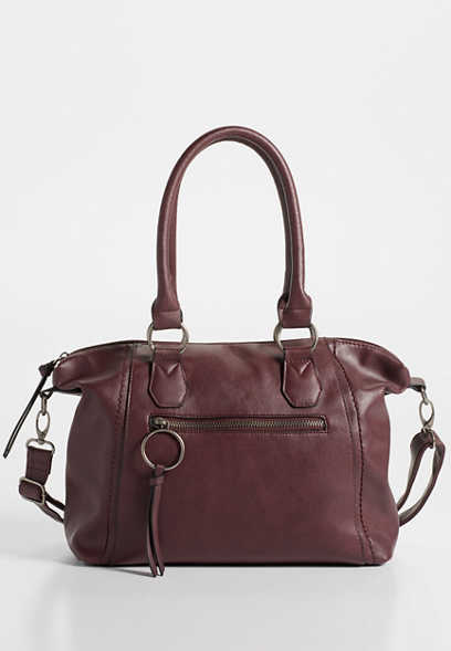 faux leather satchel crossbody bag