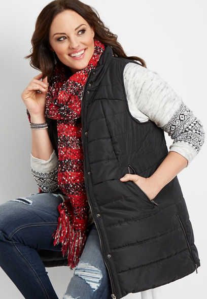plus size long puffer vest
