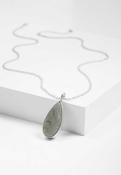 gray teardrop pendant necklace