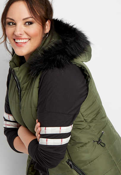 plus size black faux fur puffer vest