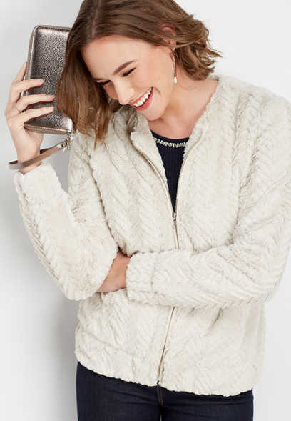 faux fur chevron pattern jacket