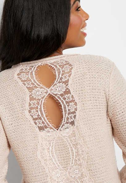 lace back thermal stitch pullover