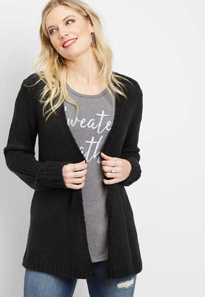 pointelle back cozy waterfall cardigan