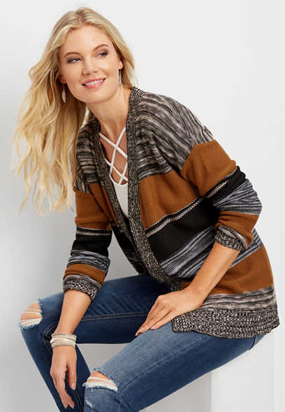 spacedye striped cardigan