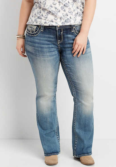 plus size Vigoss® sequin flap slim boot jean