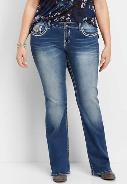plus size Vigoss® dark wash thick stitch bootcut jean