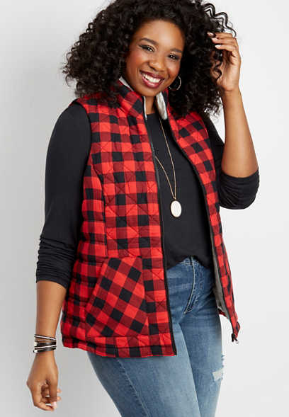 plus size buffalo plaid puffer vest